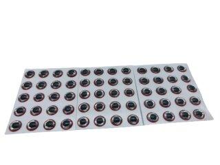 3d Klebeaugen 5mm rot/silber